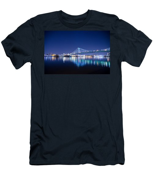 Men's T-Shirt (Athletic Fit) featuring the photograph The Benjamin Franklin Bridge At Night by Bill Cannon