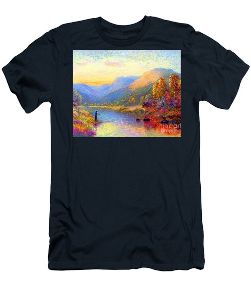 Men's T-Shirt (Slim Fit) featuring the painting Fishing And Dreaming by Jane Small
