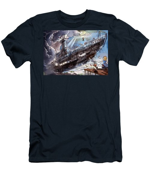 Men's T-Shirt (Slim Fit) featuring the painting The Flying Submarine by Reynold Jay