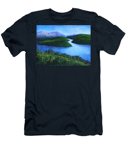 Men's T-Shirt (Slim Fit) featuring the painting The Mountains Beyond by Penny Birch-Williams