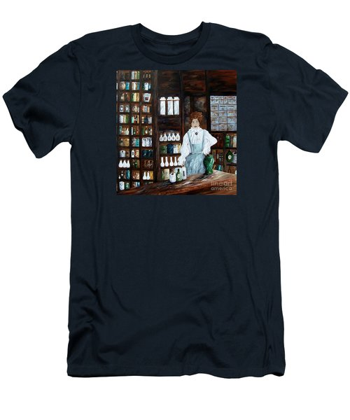 Men's T-Shirt (Slim Fit) featuring the painting The Old Pharmacy ... Medicine In The Making by Eloise Schneider