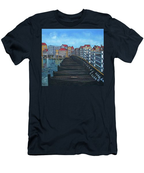 The Old Queen Emma Bridge In Curacao Men's T-Shirt (Slim Fit) by Frank Hunter