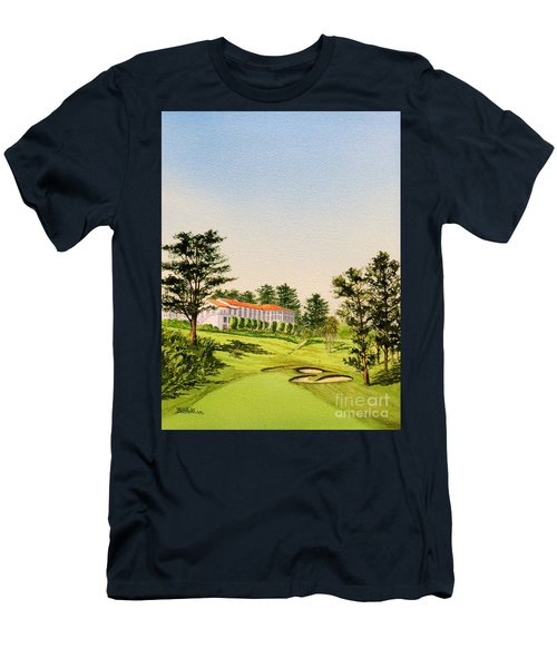 Men's T-Shirt (Athletic Fit) featuring the painting The Olympic Golf Club - 18th Hole by Bill Holkham