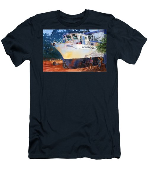 Men's T-Shirt (Slim Fit) featuring the painting The Sea Hawk In Drydock by Roger Rockefeller