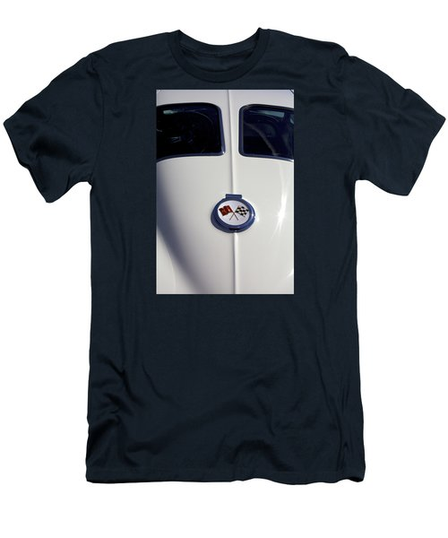 The White Vette - Vintage Corvette Stingray Emblem Men's T-Shirt (Slim Fit) by Jane Eleanor Nicholas