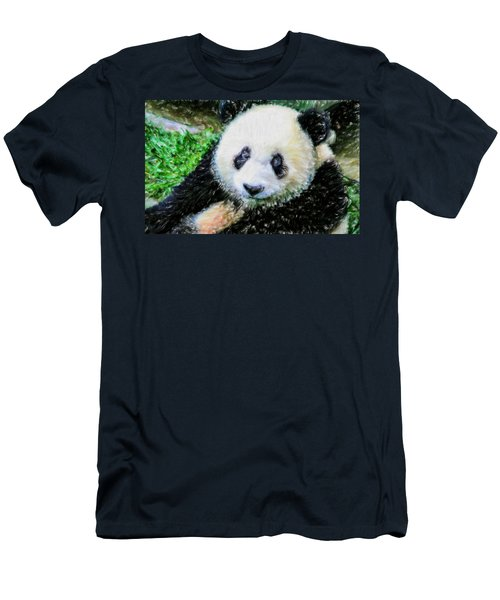 Men's T-Shirt (Slim Fit) featuring the painting Thinking Of David Panda by Lanjee Chee