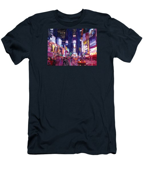 Men's T-Shirt (Slim Fit) featuring the painting Amy's Time Square In The Rain by Tim Gilliland