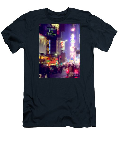 Times Square At Night - Columns Of Light Men's T-Shirt (Athletic Fit)