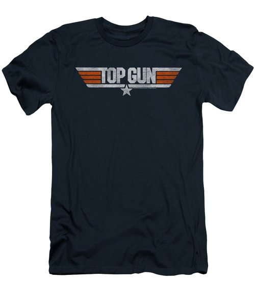 Top Gun - Distressed Logo Men's T-Shirt (Athletic Fit)