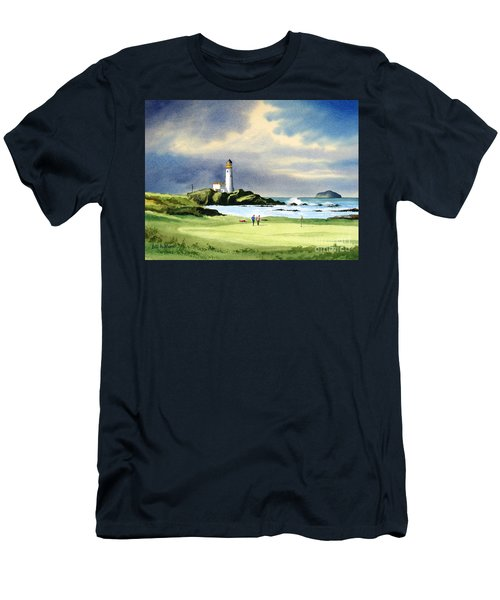 Men's T-Shirt (Athletic Fit) featuring the painting Turnberry Golf Course Scotland 10th Green by Bill Holkham