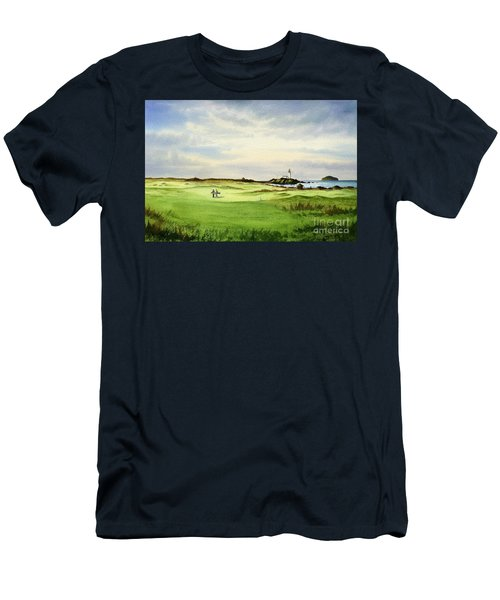 Men's T-Shirt (Athletic Fit) featuring the painting Turnberry Golf Course Scotland 12th Tee by Bill Holkham