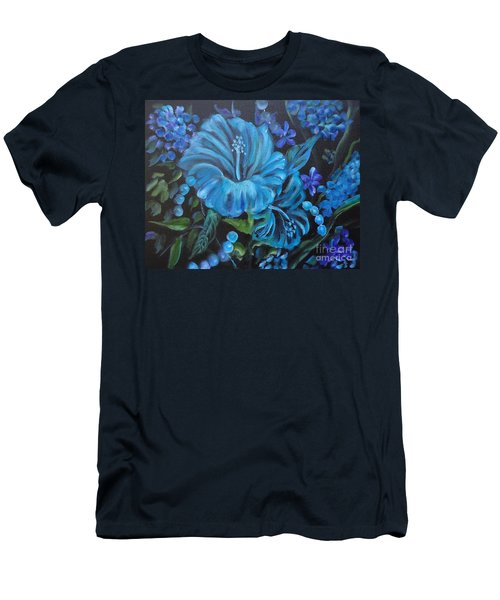Turquoise Hibiscus Men's T-Shirt (Slim Fit) by Jenny Lee