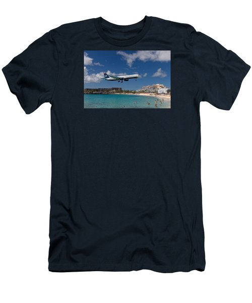 U S Airways Low Approach To St. Maarten Men's T-Shirt (Slim Fit) by David Gleeson