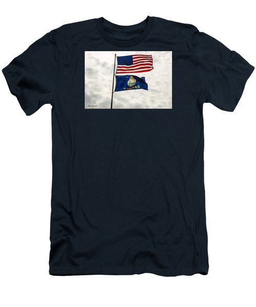 Us And Kansas Flags Men's T-Shirt (Athletic Fit)
