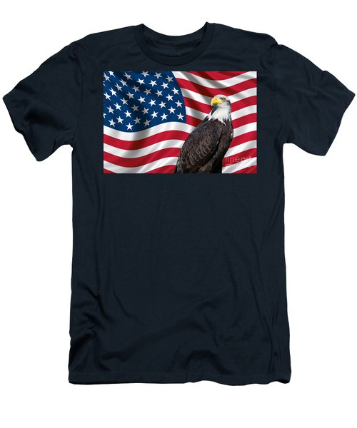 Men's T-Shirt (Slim Fit) featuring the photograph Usa Flag And Bald Eagle by Carsten Reisinger