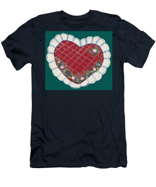 Men's T-Shirt (Slim Fit) featuring the painting Valentine Heart by Barbara McDevitt