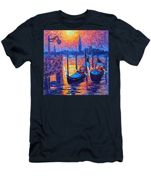 Venice Mysterious Light - Gondolas And San Giorgio Maggiore Seen From Plaza San Marco Men's T-Shirt (Slim Fit) by Ana Maria Edulescu