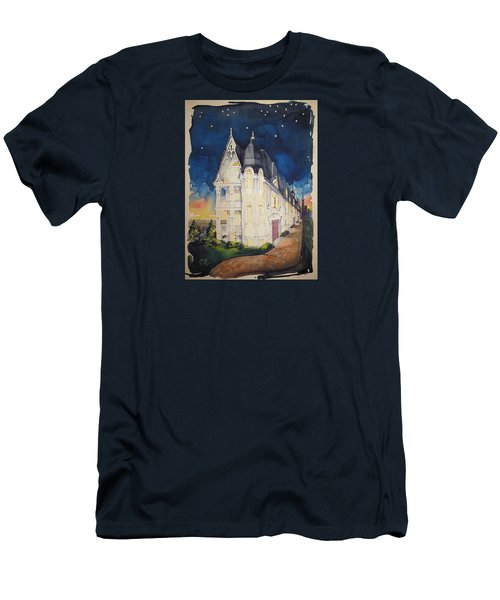 The Victorian Apartment Building By Rjfxx. Original Watercolor Painting. Men's T-Shirt (Slim Fit) by RjFxx at beautifullart com