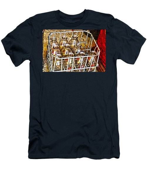 Men's T-Shirt (Slim Fit) featuring the photograph Vintage Milk Bottles In A Crate   by Lesa Fine