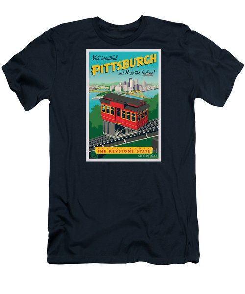 Vintage Style Pittsburgh Incline Travel Poster Men's T-Shirt (Slim Fit) by Jim Zahniser