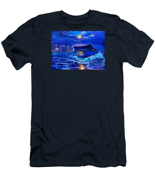 Waikiki Lights Men's T-Shirt (Slim Fit) by Jenny Lee