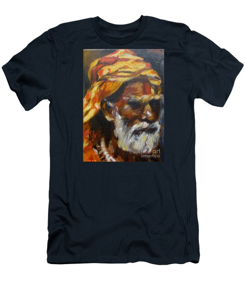 Men's T-Shirt (Slim Fit) featuring the painting Wandering Sage Small by Mukta Gupta