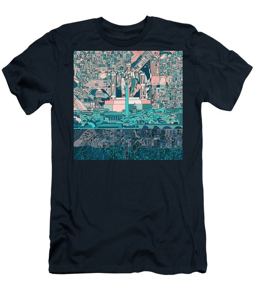 Washington Dc Skyline Abstract 5 Men's T-Shirt (Slim Fit) by Bekim Art