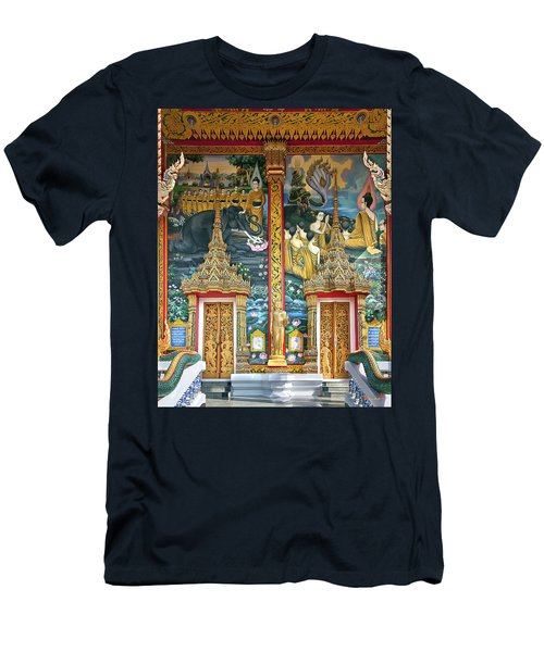Men's T-Shirt (Slim Fit) featuring the photograph Wat Choeng Thale Ordination Hall Facade Dthp143 by Gerry Gantt