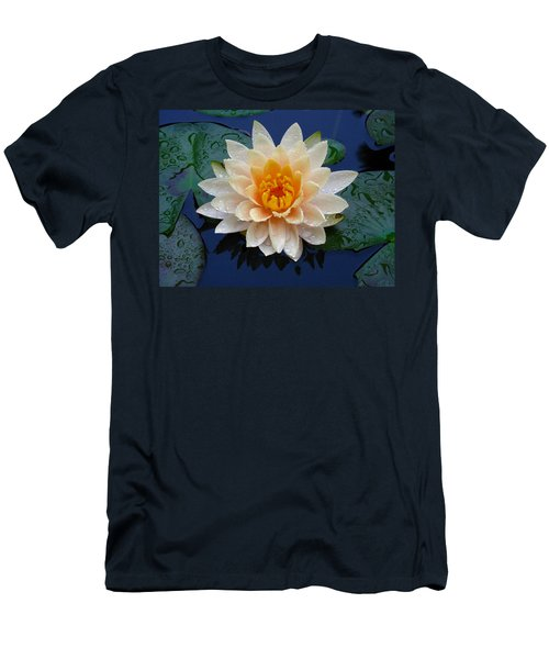 Waterlily After A Shower Men's T-Shirt (Slim Fit) by Raymond Salani III