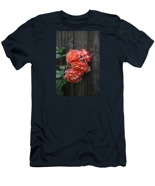 Men's T-Shirt (Slim Fit) featuring the photograph Westerland Rose Wood Fence by Tom Wurl