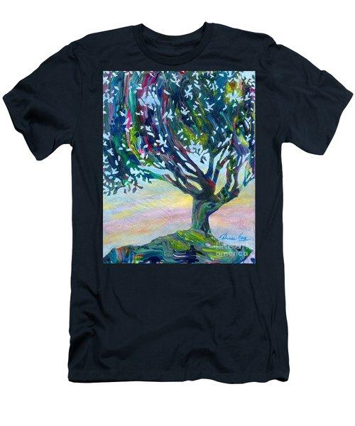 Whimsical Tree Pastel Sky Men's T-Shirt (Slim Fit) by Denise Hoag