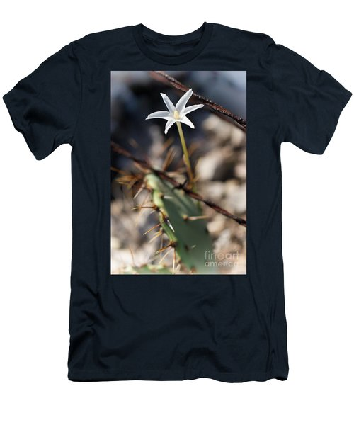 Men's T-Shirt (Slim Fit) featuring the photograph White Cactus Flower by Erika Weber