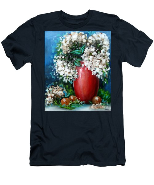 Men's T-Shirt (Slim Fit) featuring the painting White Hydrangeas by Patrice Torrillo
