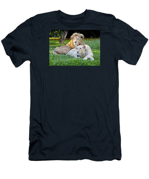 White Lion And Lioness Men's T-Shirt (Slim Fit) by Venetia Featherstone-Witty