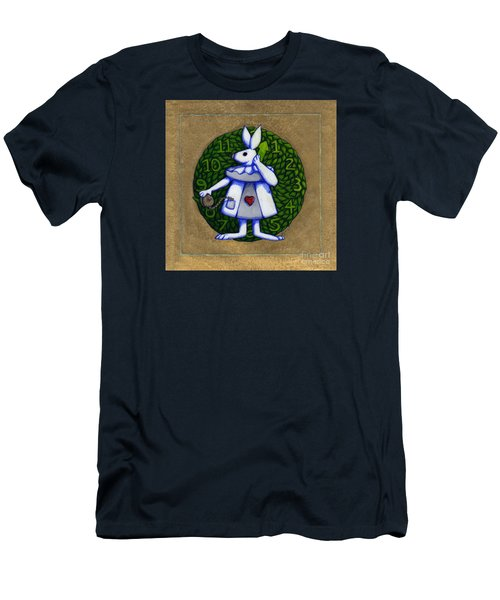 Men's T-Shirt (Slim Fit) featuring the mixed media White Rabbit Wonderland by Donna Huntriss