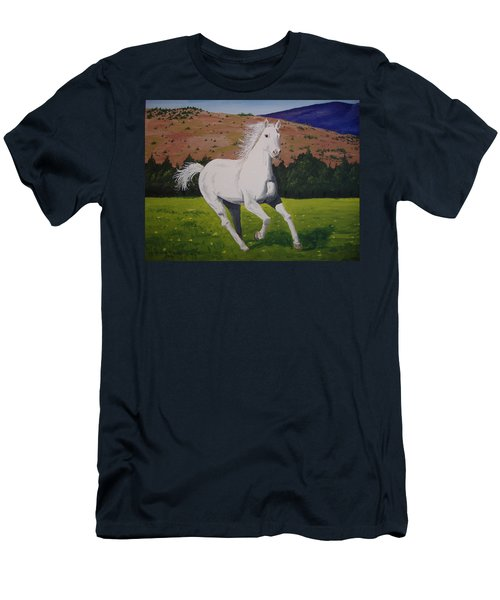 Men's T-Shirt (Slim Fit) featuring the painting White Stallion by Norm Starks