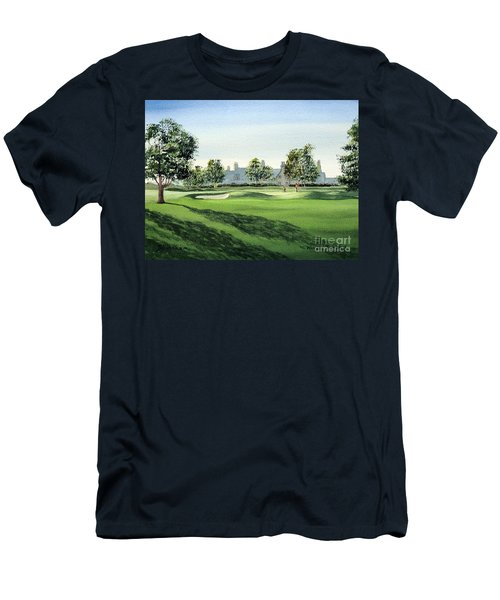 Men's T-Shirt (Athletic Fit) featuring the painting Winged Foot West Golf Course 18th Hole by Bill Holkham
