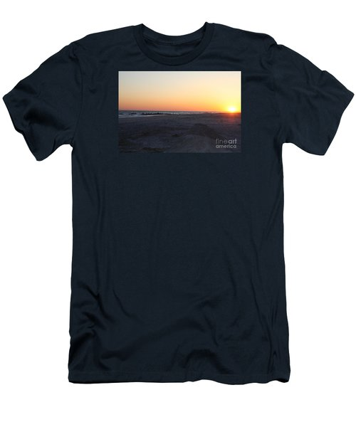 Winter Sunset On Long Beach Men's T-Shirt (Slim Fit) by John Telfer
