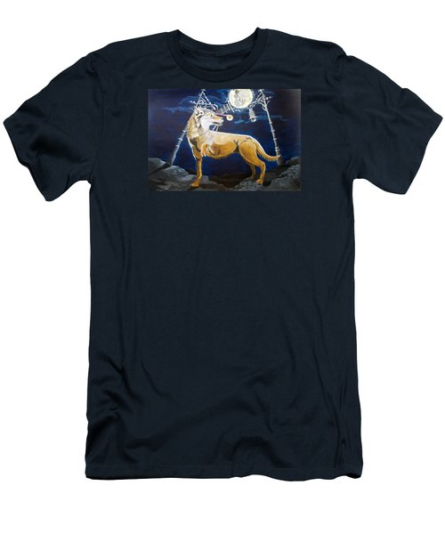 Men's T-Shirt (Slim Fit) featuring the painting Wolves Mouth  by Lazaro Hurtado