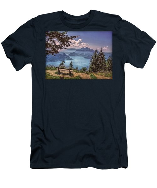 Wooden Bench Men's T-Shirt (Slim Fit) by Hanny Heim