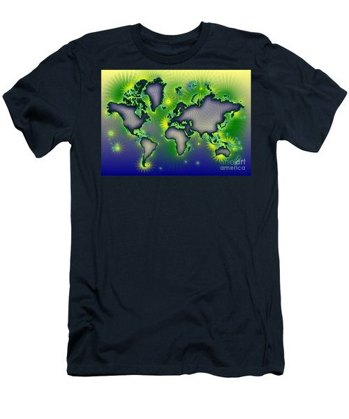 World Map Amuza In Blue Yellow And Green Men's T-Shirt (Slim Fit) by Eleven Corners