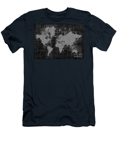 World Map Rettangoli In Black And White Men's T-Shirt (Slim Fit) by Eleven Corners