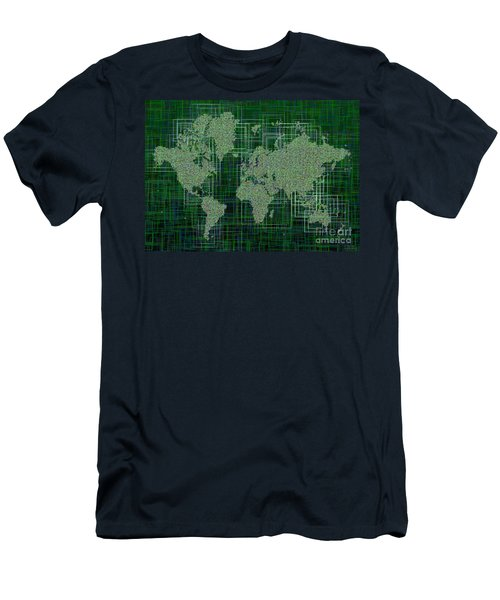 World Map Rettangoli In Green And White Men's T-Shirt (Slim Fit) by Eleven Corners
