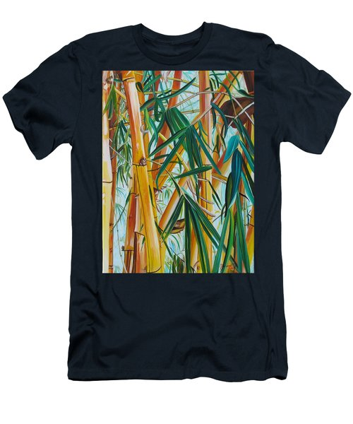 Men's T-Shirt (Slim Fit) featuring the painting Yellow Bamboo by Marionette Taboniar