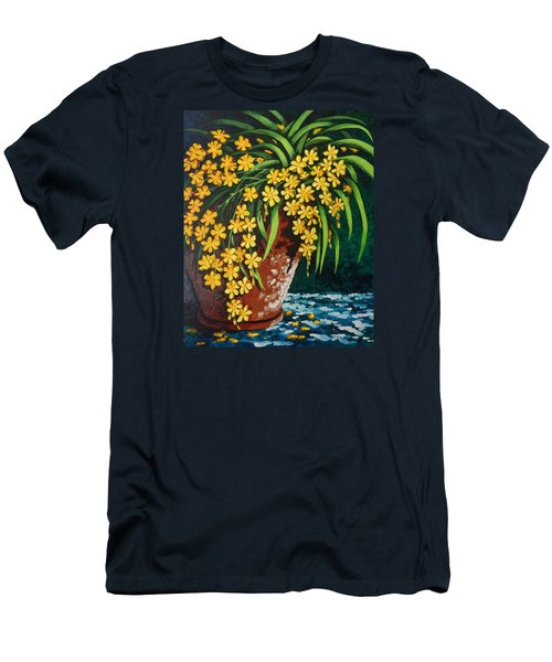 Men's T-Shirt (Slim Fit) featuring the painting Yellow Cascade by Katherine Young-Beck