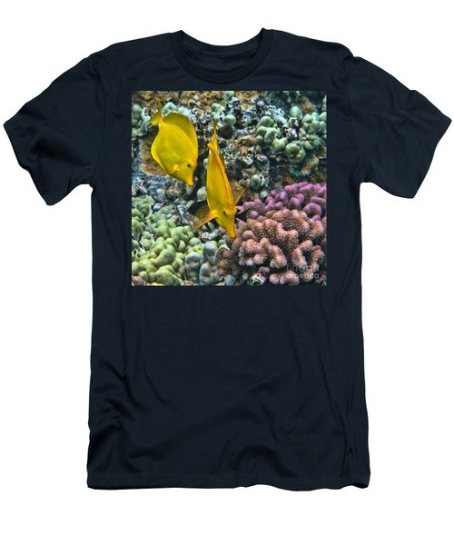 Men's T-Shirt (Slim Fit) featuring the photograph Yellow Tang Pair by Peggy Hughes