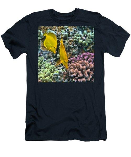 Yellow Tang Pair Men's T-Shirt (Slim Fit) by Peggy Hughes