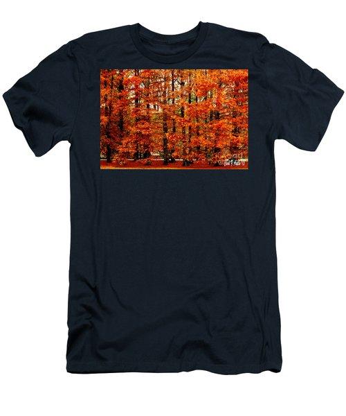 Autumn Red Maple Landscape Men's T-Shirt (Slim Fit) by Carol F Austin