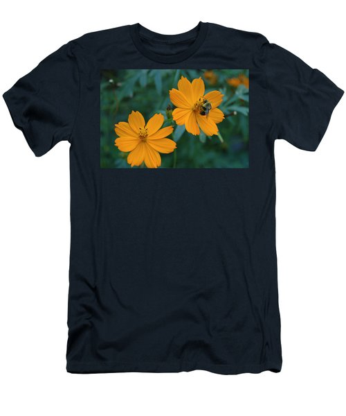Bee On Cosmos Flower  Men's T-Shirt (Slim Fit) by Tom Wurl