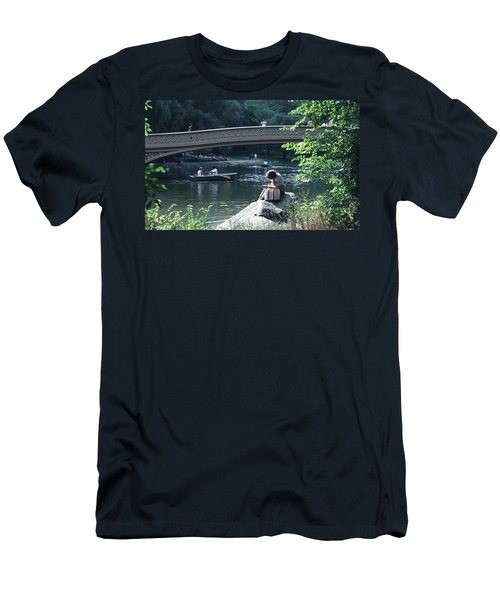 Bow Bridge In Central Park Nyc Men's T-Shirt (Slim Fit) by Tom Wurl